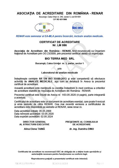Laborator de analize medicale - certificare RENAR